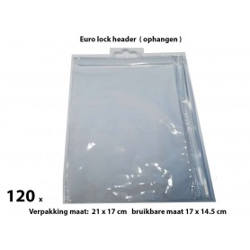 PVC Durable Zipper bag - Retail Verpakking - Euro header - Klein - 120 Pack