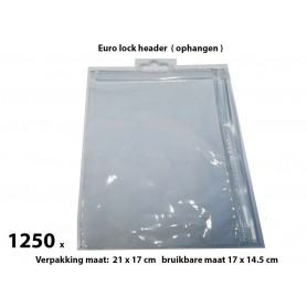 PVC Durable Zipper bag - Retail Verpakking - Euro header - Klein - 1250 Pack