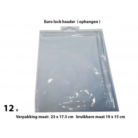 PVC Durable Zipper bag - Retail Verpakking - Euro header - Groot- 12 Pack