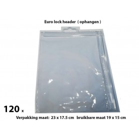 PVC Durable Zipper bag - Retail Verpakking - Euro header - Groot- 120 Pack
