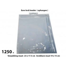 PVC Durable Zipper bag - Retail Verpakking - Euro header - Groot- 1250 Pack
