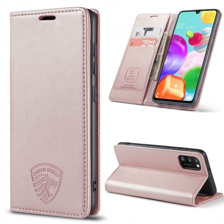 Samsung A41 Hoesje Anti Skim Book Case Rose Gold
