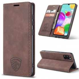 Samsung A41 Hoesje Anti Skim Book Case Dark Mokka