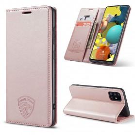 Samsung A71 Hoesje Anti Skim Book Case Rose Gold