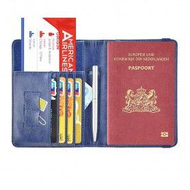Luxe style RFID Paspoort hoesje / Paspoorthouder Marine Blauw