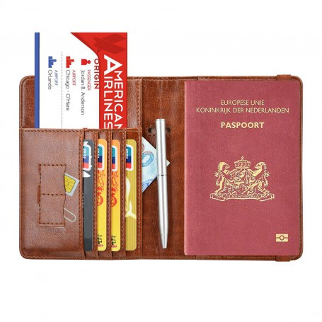 Luxe style RFID Paspoort hoesje / Paspoorthouder Cognac Bruin